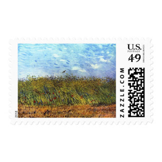 Van Gogh: Wheat Field with Poppies and Lark Postage Stamp