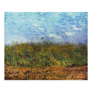 Van Gogh: Wheat Field with Poppies and Lark Print