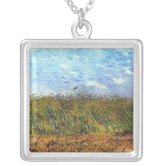 Van Gogh: Wheat Field with Poppies and Lark Square Pendant Necklace