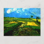 """van gogh - Wheat Fields at Auvers Postcard<br><div class=""""desc"""">Van Gogh landscape painting,  Wheat Fields at Auvers under Cloudy Skies,  post card.</div>"""