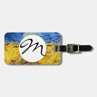 Van gogh wheat fields famous painting luggage tag