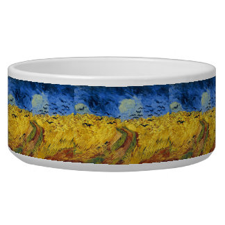 Van gogh wheat fields famous painting dog food bowls