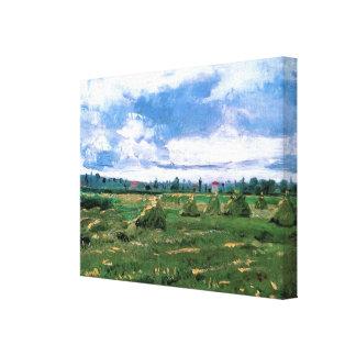 Van Gogh Wheat Fields with Haystacks, Fine Art Canvas Print
