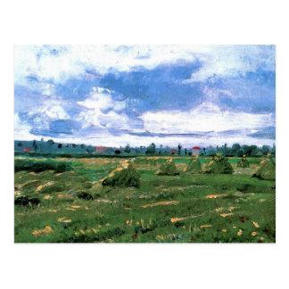 Van Gogh; Wheat Fields with Stacks, Vintage Farm Postcard