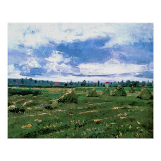 Van Gogh; Wheat Fields with Stacks, Vintage Farm Posters