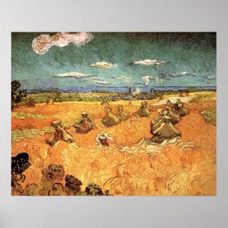 Van Gogh Wheat Stacks with Reaper, Vintage Farm Print