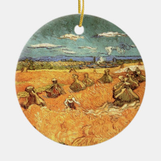 Van Gogh Wheat Stacks with Reaper Vintage Fine Art Ceramic Ornament
