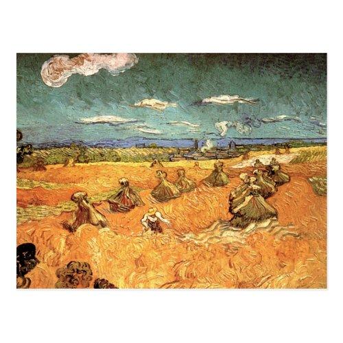 Van Gogh Wheat Stacks with Reaper Vintage Fine Art Postcard