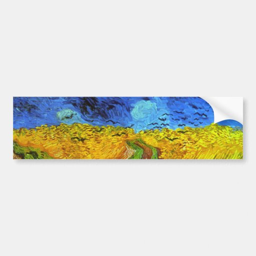 Van Gogh Wheatfield with Crows (F779) Fine Art Bumper Stickers