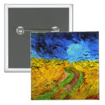 Van Gogh Wheatfield with Crows (F779) Fine Art 2 Inch Square Button