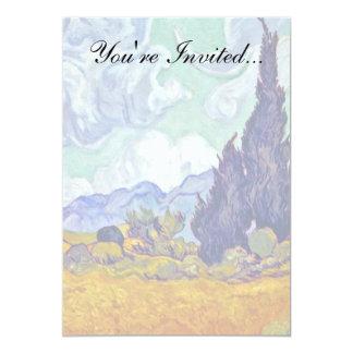 Van Gogh - Wheatfield With Cypresses 5x7 Paper Invitation Card
