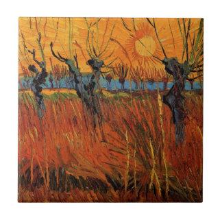 Van Gogh Willows at Sunset, Vintage Impressionism Ceramic Tile
