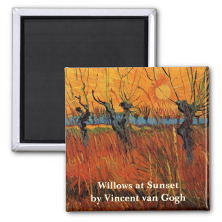 Van Gogh Willows at Sunset, Vintage Impressionism Magnets