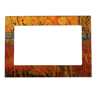 Van Gogh Willows at Sunset, Vintage Impressionism Magnetic Photo Frame