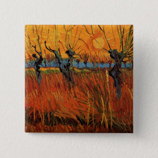 Van Gogh Willows at Sunset, Vintage Impressionism Pinback Button