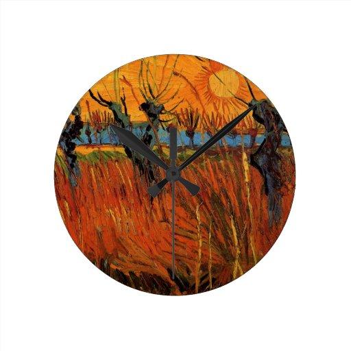 Van Gogh Willows at Sunset, Vintage Impressionism Round Clocks