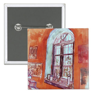 Van Gogh, Window of Vincent's Studio at the Asylum 2 Inch Square Button