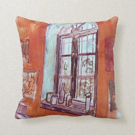 Van Gogh Window of Vincent's Studio at the Asylum Throw Pillow