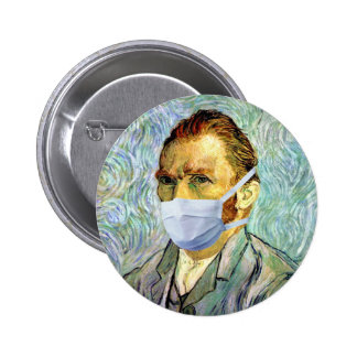 Van Gogh With Mask Button