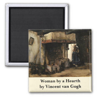 Van Gogh; Woman by a Hearth, Vintage Impressionism 2 Inch Square Magnet