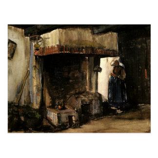Van Gogh; Woman by a Hearth, Vintage Impressionism Postcard