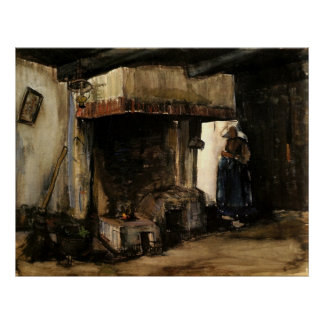 Van Gogh Woman by a Hearth Vintage Impressionism Poster