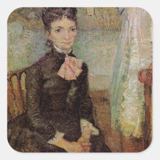 Van Gogh, Woman Sitting by a Cradle, Vintage Art Square Sticker