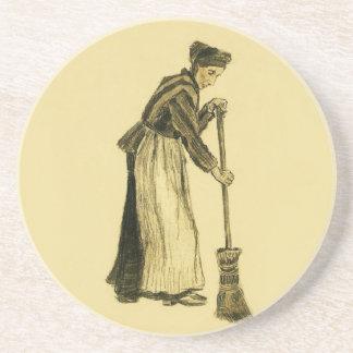 Van Gogh Woman with a Broom Fine Art Drink Coaster