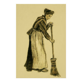 Van Gogh Woman with a Broom Fine Art Poster