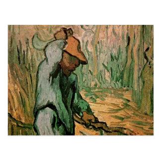 Van Gogh, Woodcutter, Vintage Impressionism Art Postcard