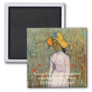 Van Gogh, Young Girl Standing; Background of Wheat 2 Inch Square Magnet