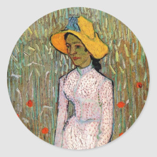 Van Gogh, Young Girl Standing; Background of Wheat Stickers