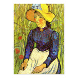 Van Gogh, Young Peasant Woman with Straw Hat 5x7 Paper Invitation Card