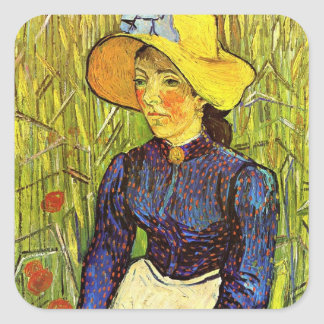 Van Gogh, Young Peasant Woman with Straw Hat Square Sticker