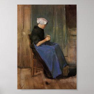Van Gogh - Young woman knitting Poster
