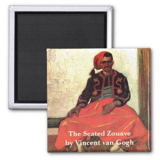 Van Gogh, Zouave asentado, arte del impresionismo Imán Cuadrado