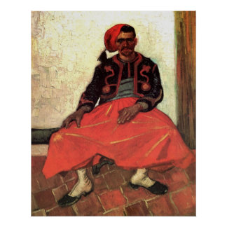 Van Gogh, Zouave asentado, arte del impresionismo Póster