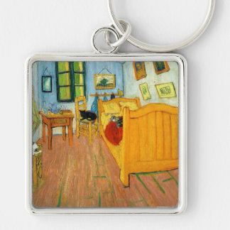 Van Gogh's Bed Silver-Colored Square Keychain