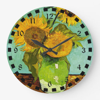 Van Gogh's Famous Painting, Sunflowers, 1888 Large Clock