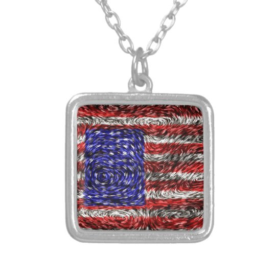 Van Gogh's Flag of the United States Silver Plated Necklace