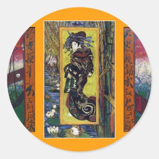 Van Gogh's Japanese Touch Classic Round Sticker