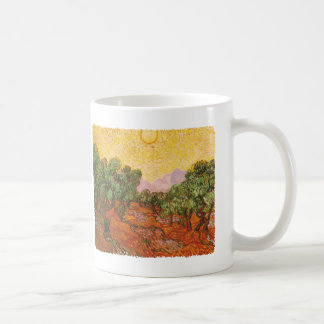 Van Gogh's Olive Trees with Yellow Sky & Sun Coffee Mug