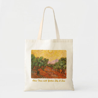 Van Gogh's Olive Trees with Yellow Sky & Sun Tote Bag