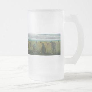 Van Gogh's Peasants or Farmers Planting Potatoes Frosted Glass Beer Mug