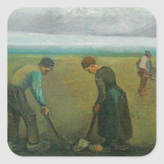 Van Gogh's Peasants or Farmers Planting Potatoes Square Sticker