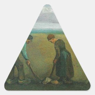 Van Gogh's Peasants or Farmers Planting Potatoes Triangle Sticker