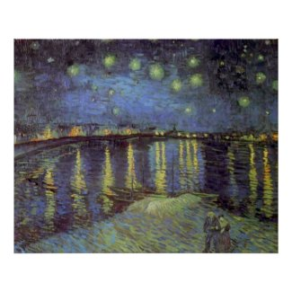 Van Gogh's Starry Blue Night Over Rhone Painting Poster
