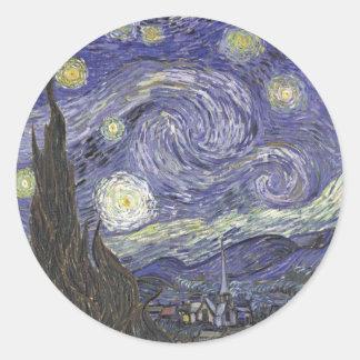 Van Gogh's Starry Night Classic Painting Classic Round Sticker