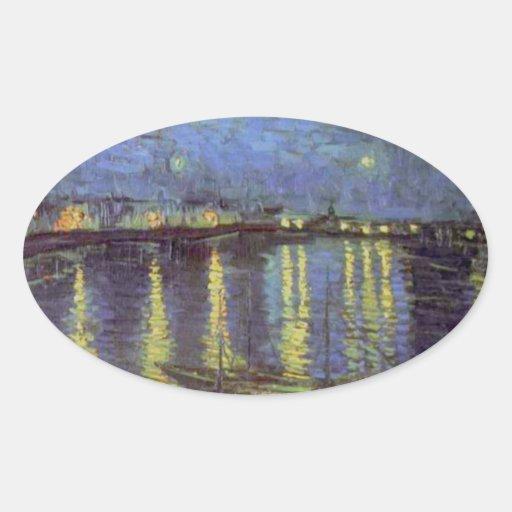 Van Gogh's Starry Night Painting Oval Sticker   Zazzle