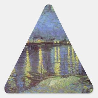 Van Gogh's Starry Night Painting Triangle Sticker